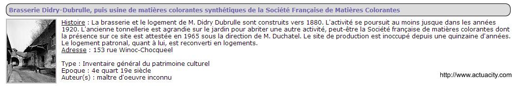 Brasserie Didry_Dubrulle 153 rue Winoc Choqueel