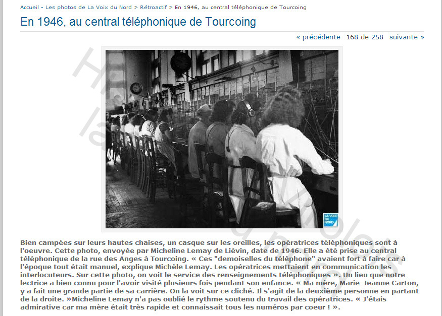 En 1946, au central téléphonique de Tourcoing -- photos.lavoix.com copie