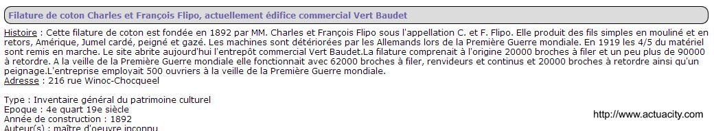 Filature C H FLIPO, rue Winoc Choquel