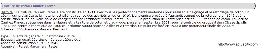 Filature Caulliez frére chaussée Berthelot