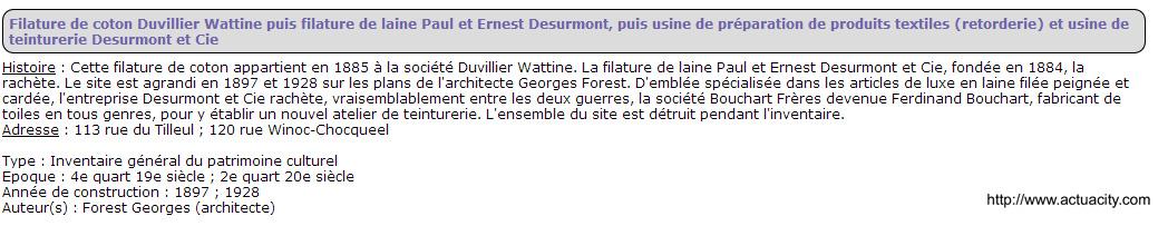 Filature Duvillier  Wattine rue di tulleul et winoc choqueel