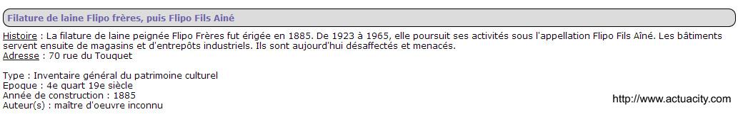 Filature Flipo 70 rue du Touquet