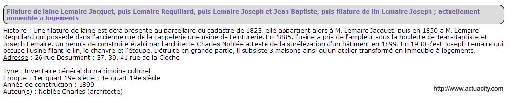 Filature Lemaire Jacquet 41 rue de la cloche