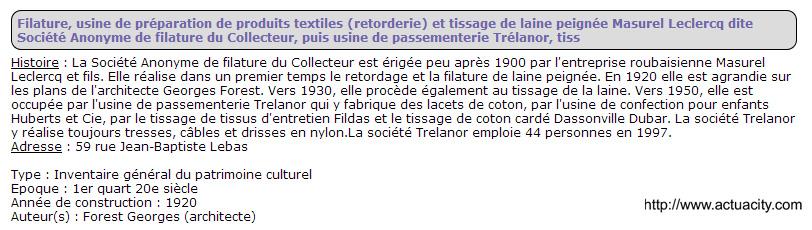 Filature Masurel Leclercq 59 rue jb lebas