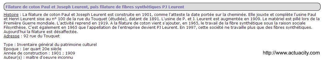 Filature P_J_Leurent 92 rue du Touquet