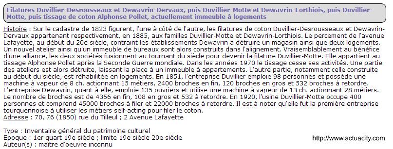 Fillature Duvillier Desrousseaux rue du tilleul et av Lafayette