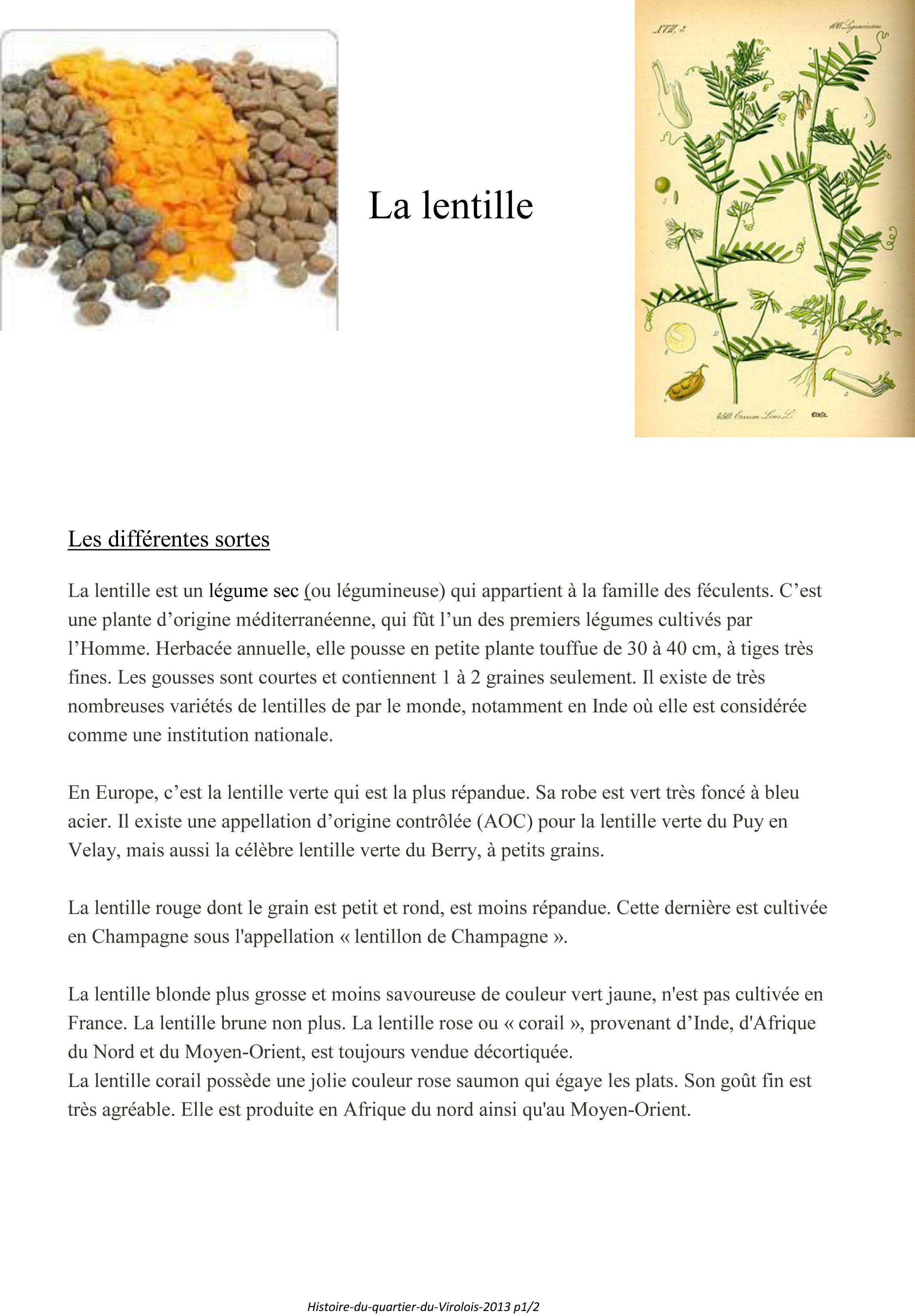 Histoire du Virolois La lentille-1
