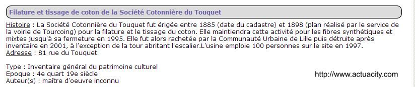 Sté Cotonniére du Touquet 81 rue du touquet