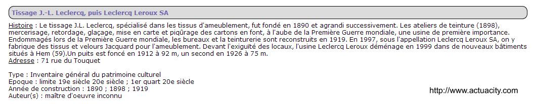Tissage JL Leclercq 71 rue du touquet copie