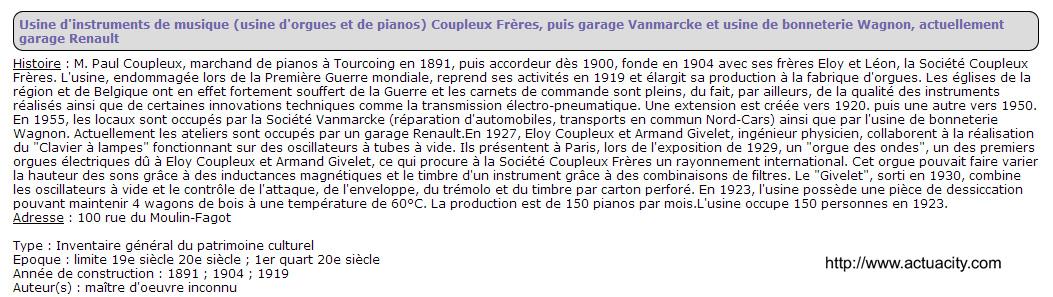 Usine d'orgues et pianos COUPLEUX fréres 100 rue du moulin à Fagot