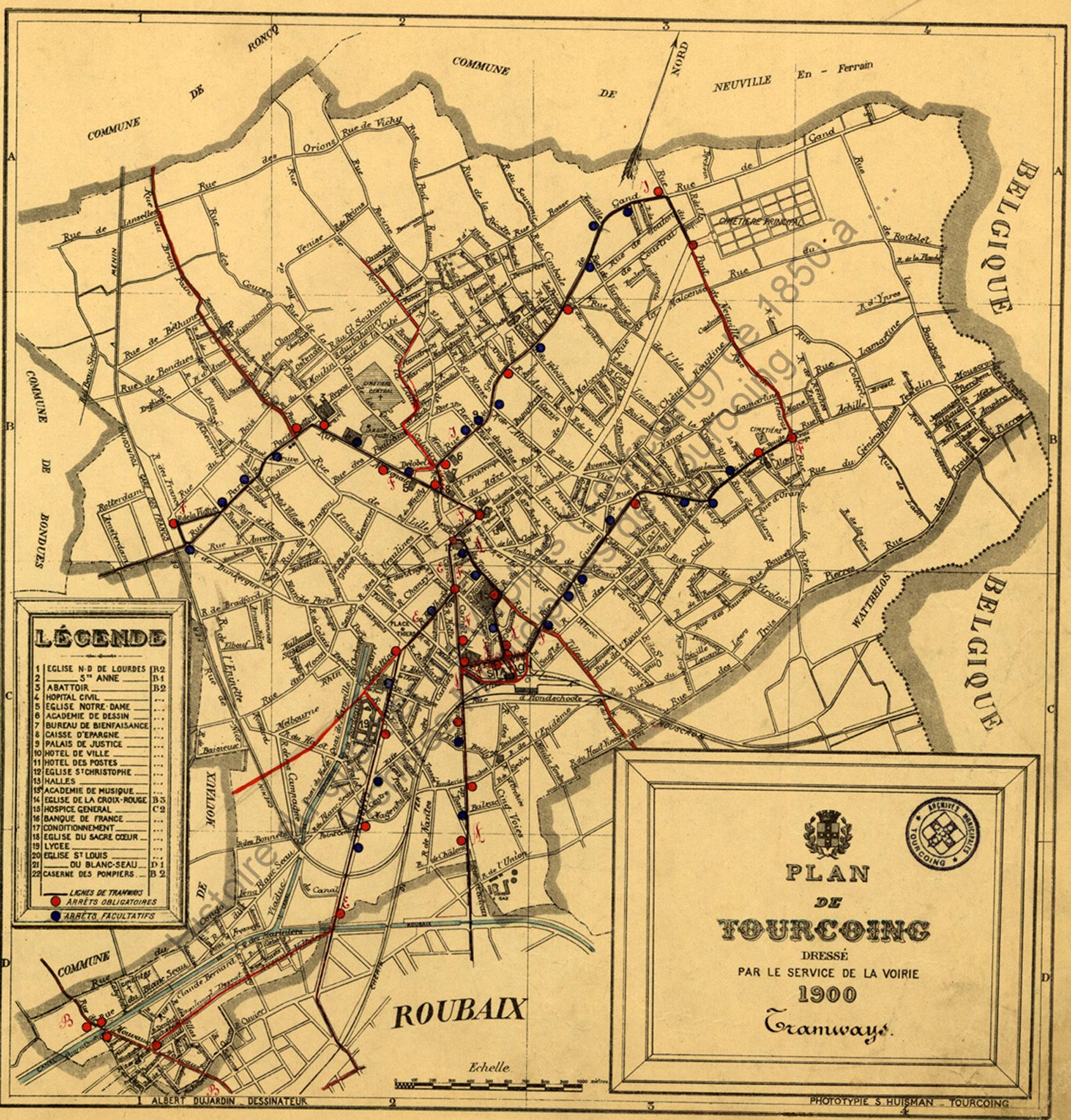 plan du tramway de Tourcoing en 1900