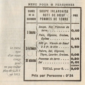 rue du Prince 4. Menu 1895