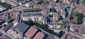 vue aérienne angle rue de la croix rouge et et des piats