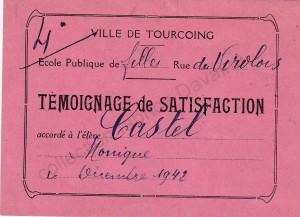 témoignage de satisfaction école des fille 1942 (col FD)
