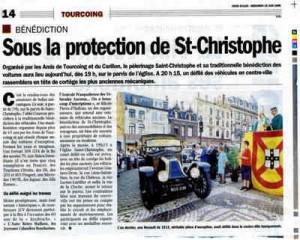 Bénédiction des voitures Saint Christophe Tourcoing 59200, Article dans Nord-Eclair du 24 juin 2008