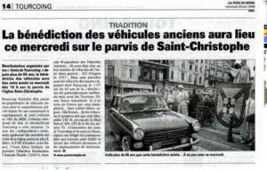 Bénédiction des voitures Saint Christophe Tourcoing 59200, Article de La Voix du Nord - 24 juin 2008