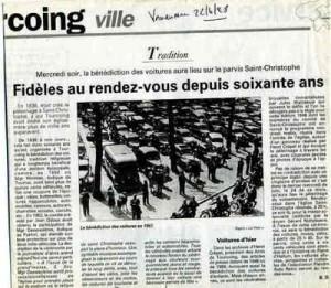 Bénédiction des voitures Saint Christophe Tourcoing 59200 La Voix du Nord 1998  Fidèles au rendez-vous !