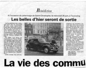 Bénédiction des voitures Saint Christophe Tourcoing 59200 La Voix du Nord, 1998  Les belles d'hier