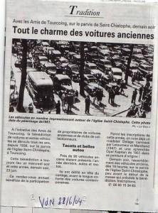 Bénédiction des voitures Saint Christophe Tourcoing 59200, La Voix du Nord 22 juin 2004