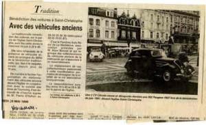 Bénédiction des voitures Saint Christophe Tourcoing 59200, La Voix du Nord, mai 1998