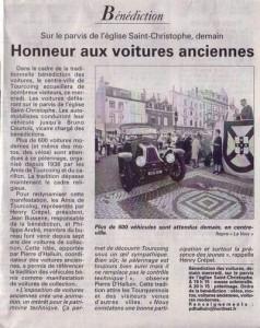 Bénédiction des voitures Saint Christophe Tourcoing 59200, La voix du Nord 21 juin 2005
