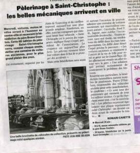 Bénédiction des voitures Saint Christophe Tourcoing 59200, La voix du Nord, 21 juin 2009