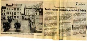 Bénédiction des voitures Saint Christophe Tourcoing 59200 La voix du Nord juin 1997