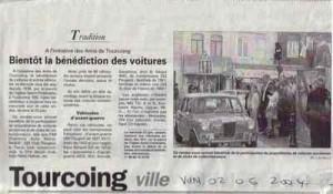 Bénédiction des voitures Saint Christophe Tourcoing 59200 La voix du nord 2 juin 2004