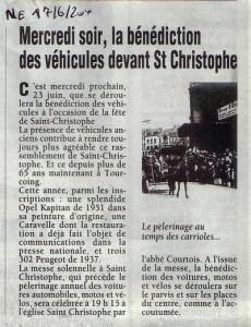 Bénédiction des voitures Saint Christophe Tourcoing 59200 Nord-Eclair 19 juin 2004