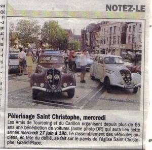 Bénédiction des voitures Saint Christophe Tourcoing 59200 Nord-Eclair 24 juin 2007  Honneur aux Peugeot 302
