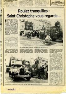 Bénédiction des voitures Saint Christophe Tourcoing 59200  Nord Eclair juin 1998  ROulez tranquilles !