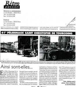Bénédiction des voitures Saint Christophe Tourcoing 59200, Rétro-Passion Août 1998