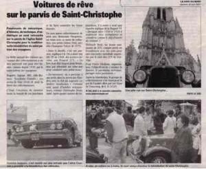 Bénédiction des voitures Saint Christophe Tourcoing 59200 Voix du Nord 30 juin 2007  Voitures de rêve sur le parvis de Saint-Christophe'